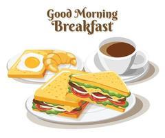 sanduíche de café da manhã conjunto de alimentos no fundo branco, ilustração vetorial vetor