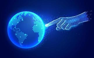 conceito de tecnologia de comunicação digital de inteligência artificial. dedo mão toque ilustrações vetoriais wireframe poligonais do mapa global digital. vetor