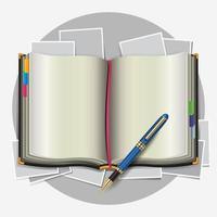 organizador pessoal com caneta. vetor