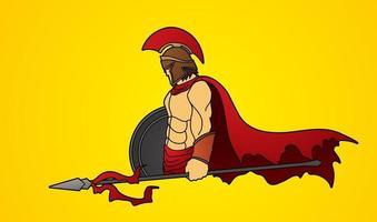 guerreiro espartano com lança e escudo vetor