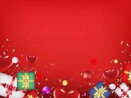 conceito de dia dos namorados com corações, presentes e espaço de cópia. usar para cartão de felicitações ou modelo de banner como plano de fundo do projeto. vetor