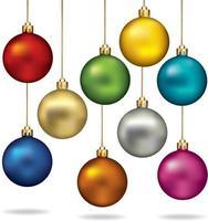 conjunto de cores de bolas de Natal. ilustração vetorial. vetor