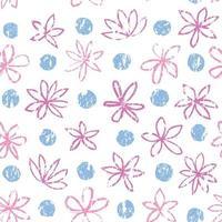sem costura padrão floral com ornamento de bolinhas. elegante desenhado fundo pontilhado com flores. vetor