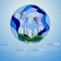 cidade ecológica verde em papel arte fundo