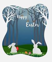 ovos de páscoa com coelhos brancos e margaridinha na floresta