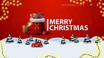 Feliz Natal, cartão postal vermelho moderno com guirlanda de quadro, floresta de inverno de pinheiros e carro vintage vermelho carregando árvore de Natal.