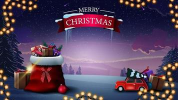 feliz Natal. lindo cartão postal de saudação com bolsa de Papai Noel com presentes, carro vintage vermelho com árvore de Natal e paisagem de inverno ao fundo vetor