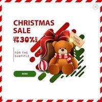 promoção de natal, desconto de até 30, desconto em vermelho e verde com formas líquidas abstratas e presente com ursinho de pelúcia vetor