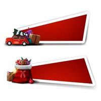 modelos para desconto de natal, modelos vermelhos com bolsa de papai noel com presentes e carro vintage vermelho carregando árvore de natal