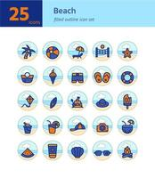 praia cheia de ícones de contorno definido. vetor e ilustração.