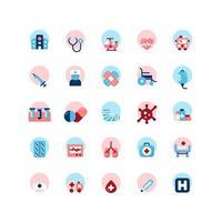 conjunto de ícones plana de hospital. vetor e ilustração.