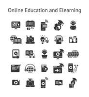 educação on-line e conjunto de ícones sólidos de elearning. vetor