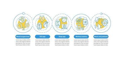 modelo de infográfico de vetor de recursos smartwatch