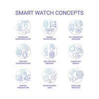 conjunto de ícones de conceito de relógio inteligente