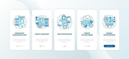 dicas de configuração de relógio inteligente integrando a tela da página do aplicativo móvel com conceitos vetor