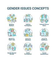 conjunto de ícones de conceito de questões de gênero vetor