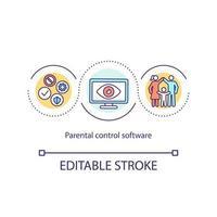 ícone de conceito de software de controle parental vetor