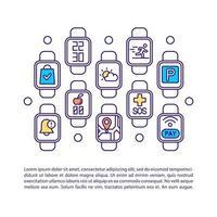 ícone de conceito de aplicativos de relógio inteligente com texto vetor