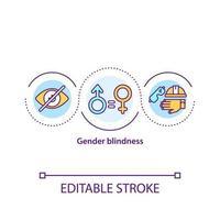 ícone do conceito de cegueira de gênero vetor