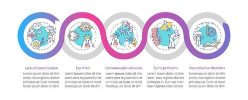 modelo de infográfico de vetor de problemas de saúde vício em gadget
