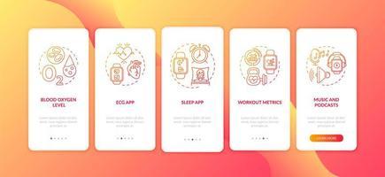 funções do relógio inteligente integrando a tela da página do aplicativo móvel com conceitos