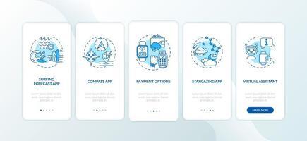 recursos do smartwatch integrando a tela da página do aplicativo móvel com conceitos vetor