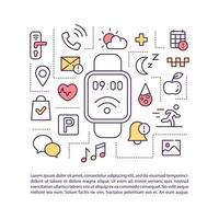 ícone de conceito de aplicativos smartwatch com texto vetor