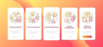 alterando papéis de gênero na tela da página do aplicativo móvel com conceitos