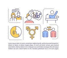 ícone do conceito de neutralidade de gênero com texto vetor