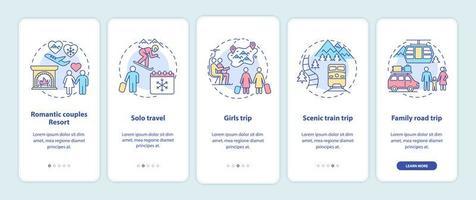 tela de página de aplicativos para dispositivos móveis com ideias de férias de inverno vetor