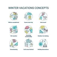 conjunto de ícones de conceito de férias de inverno vetor