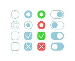 botões de confirmação kit de elementos da interface do usuário vetor
