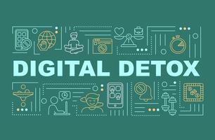 banner de conceitos de palavras de desintoxicação digital
