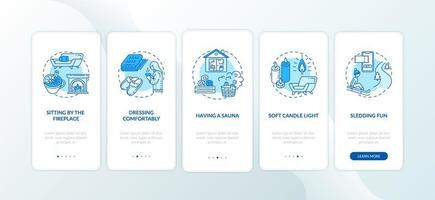 Hygge lifestyle para uma tela de página de aplicativo móvel de inverno aconchegante com conceitos vetor