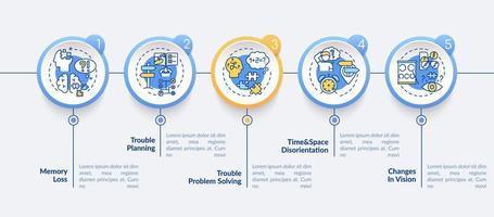 primeiros sinais de modelo de infográfico de vetor de Alzheimer