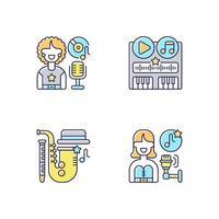 conjunto de ícones de cores rgb de diferentes gêneros de trilha sonora