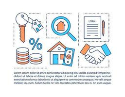 ícone de conceito de documento de obrigação de hipoteca com texto vetor