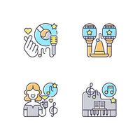 conjunto de ícones de cores rgb de músicas de festa