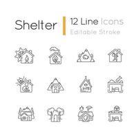 conjunto de ícones lineares de tipos de abrigos vetor