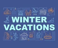 banner de conceitos de palavras de férias de inverno vetor