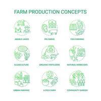 Conjunto de ícones de conceito de produção agrícola vetor