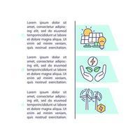 ícone do conceito de recursos de energia renovável com texto vetor