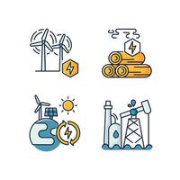 conjunto de ícones de cores rgb de energia tradicional e alternativa vetor