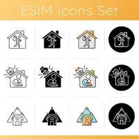 conjunto de ícones de habitação transitória vetor