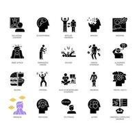 conjunto de ícones de glifo de transtorno mental. delírios, esquizofrenia. amnésia, insônia. bulimia, anorexia. espectro do autismo. síndrome obsessivo-compulsiva. símbolos de silhueta. ilustração isolada do vetor