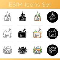 conjunto de ícones de habitação de suporte temporário vetor
