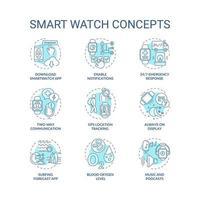 conjunto de ícones de conceito de relógio inteligente vetor