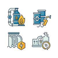 conjunto de ícones de cores rgb de manufatura de energia