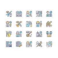 conjunto de ícones de cores rgb de gêneros musicais vetor
