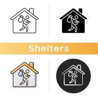ícone de abrigo para refugiados vetor